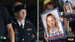 بردلی مینینگ (چپ) به عنوان سرباز در ارتش آمریکا خدمت کرد و بعد از محکومیت اعلام کرد تغییر جنسیت داده است. عکس او را (راست) دست حامیانش می بینید.