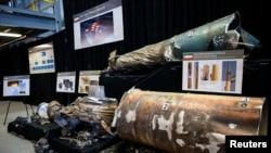 美國國防部展示伊朗製造的中程彈道導彈。(2018年11月29日)