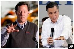 Rick Santorum (à g.) et Mitt Romney
