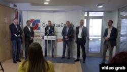 Konferencija za štampu lidera Saveza za Srbiju, u Beogradu, 17. marta 2020.