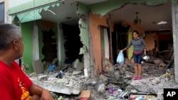 에콰도르의 지진 피해현장 모습