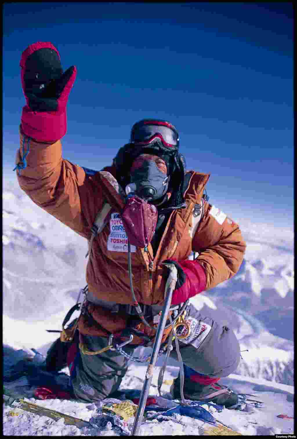 Yuichiro Miura at the Mount Everest summit, May 26, 2008. (Miura Dolphins)