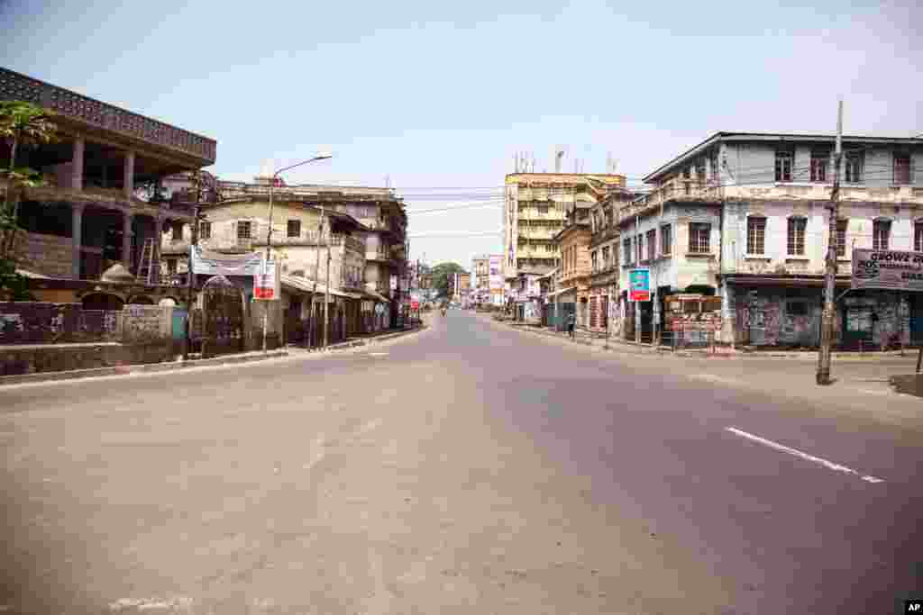 An empty street in Sierra Leone is seen, as the country enters the third and final day of a three-day countrywide lockdown on movement of people to combat the Ebola virus in the city of Freetown, Sierra Leone.