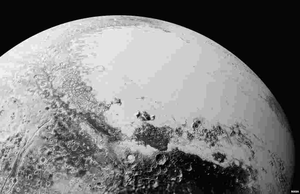 This synthetic perspective view of Pluto, based on the latest high-resolution images to be downlinked from NASA's New Horizons spacecraft, shows what you would see if you were approximately 1,100 miles (1,800 kilometers) above Pluto's equatorial area, loo