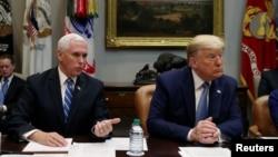 美國總統特朗普和副總統彭斯在華盛頓白宮羅斯福廳與美國主要保險商舉行會談(2020年3月10日)。