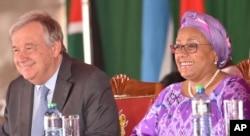 To commemorate International Women's Day, UN Secretary-General Antonio Guterres, left, joined the first lady of Kenya, Margaret Kenyatta, right, in Nairobi, Kenya, March 8, 2017.