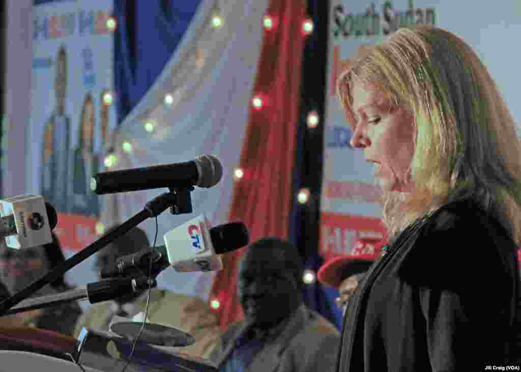Voice of America's chief of English to Africa programs, Sonya Laurence Green, speaks at the launch of the new FM radio transmitter in Juba, South Sudan, on Thursday, March 21, 2013. (VOA/Jill Craig)