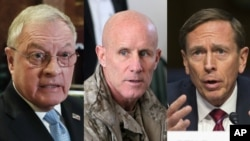 Possible choices for President Donald Trump's national security adviser include, from left, retired Army General Keith Kellogg, former Navy Vice Admiral Robert Harward and former Central Intelligence Agency chief David Petraeus.