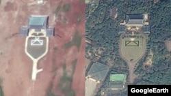 북한 평양 외곽 사동구역 대원리에서 포착된 청와대 모형건물의 위성사진(왼쪽)과 실제 청와대 위성사진.