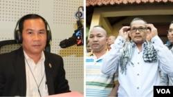 លោកអ៊ុំ សំអាន (ឆ្វេង) អតីតអ្នកតំណាងរាស្ត្រនៃគណបក្សសង្គ្រោះជាតិ និងលោកមាជ សុវណ្ណារ៉ា (ស្តាំ) អតីតមន្ត្រីព័ត៌មាននៃអតីតគណបក្សប្រឆាំង ត្រូវបានដោះលែងចេញពីពន្ធនាគារកាលពីចុងខែសីហា ក្រោយពីព្រះមហាក្សត្រនរោត្តម សីហមុនី លើកលែងទោស។ (VOA Khmer)