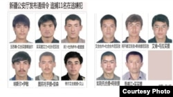 Các nghi can bị bắt sau vụ bạo động ở Tân Cương.