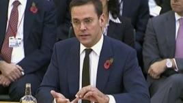 News Corp. executive James Murdoch speaks during his second appearance before British parliamentarians investigating the country's phone hacking scandal in London, November 10, 2011.