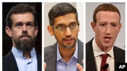 矽谷互聯網巨頭左起:推特首席執行官多西,谷歌首席執行官皮查伊,臉書首席執行官扎克伯格