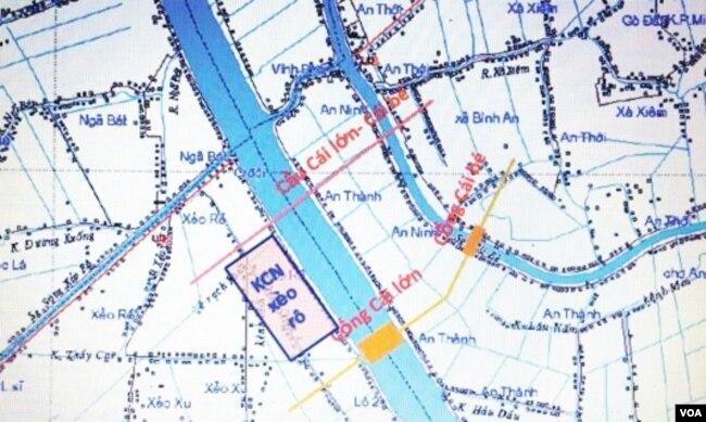 Sơ đồ dự án hệ thống cống đập chắn mặn trên Sông Cái Lớn-Sông Cái Bé, sẽ tác động trên 1/4 diện tích toàn ĐBSCL và ảnh hưởng tới đời sống hơn một triệu cư dân trong vùng. (6) [nguồn: Ánh Sáng và Cuộc Sống]