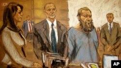 Sketsa gambar di persidangan, Muhanad Mahmoud Al Farekh (ketiga dari kiri) saat tampil di pengadilan federal di New York (foto: dok).