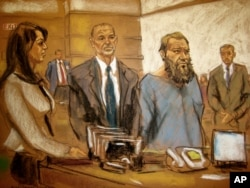 In this courtroom sketch, Muhanad Mahmoud Al Farekh, with beard, appears in federal court in New York April 2, 2015. Authorities say he planned to kill American soldiers.