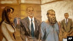 FILE - In this courtroom sketch, Muhanad Mahmoud al-Farekh, third from left, appears in federal court in New York, April 2, 2015.