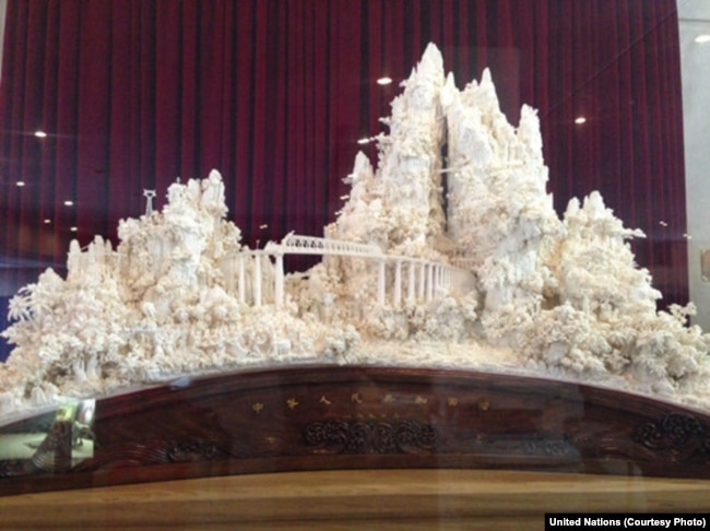 Chinese Model Railroad, Carved of Ivory, at a Crossroads