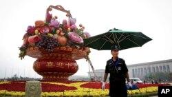 天安門廣場10月國慶安保資料照。