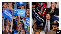Une combinaison de photos montre des partisans de la candidate démocrate Hillary Clinton, à gauche, et ceux de son rival républicain Donald Trump, lors de leurs meetings respectifs de campagne à Tempe, Arizona, 11 février 2016.