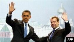 Барак Обама и Дмитрий Медведев в Москве 7 июля 2009 года
