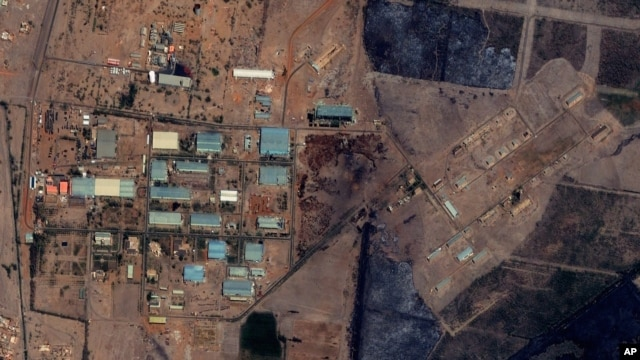 The Yarmouk military complex in Khartoum, Sudan following the alleged attack. A U.S. monitoring group says satellite images of the aftermath of an explosion at a Sudanese weapons factory suggest the site was hit by an airstrike, October 25 2012.