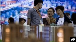 지난달 21일 중국 베이징의 아파트 분양 사무소. (자료 사진)