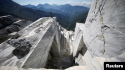 FILE - The Cervaiole marble quarry is seen on Monte Altissimo in the Apuan Alps, Tuscany, Italy, July 15, 2017. (REUTERS/Alessandro Bianchi)