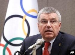 토마스 바흐 국제올림픽위원회(IOC) 위원장이 지난 2015년 8월 서울에서 열린 기자회견에서 발언하고 있다.