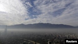 Smog shrouds Chile's capital Santiago, Chile, June 22, 2015.