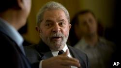 FILE - Brazil's former president Luiz Inacio Lula da Silva speaks during a press conference in Rio de Janeiro, Brazil, Dec. 3, 2015.
