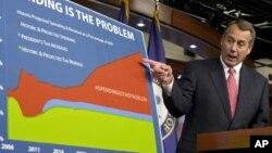 ປະທານສະພາຕໍ່າທີ່ຄວບຄຸມໂດຍພັກຣີພັບບລິກັນ ທ່ານ John Boehner ອະທິບາຍວ່າ ການໃຊ້ຈ່າຍຂອງລັດຖະບານ ແມ່ນເຮັດໃຫ້ ການເຈລະຈາດ້ານງົບປະມານສັບສົນ