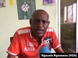 Loamba Moke, président de l'ADHUC, à Brazzaville, le 3 juin 2017. (VOA/Ngouela Ngoussou)