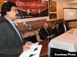 چولستان لائنز کلب کے فاروق احمد خان، ورجینیا میں ایک تقریب میں تقریر کر رہے ہیں۔