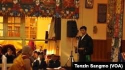Sikyong Lobsang Sangay addressing the crowd gathered at Tsuglakhang temple in Dharamsala on November 14, 2012