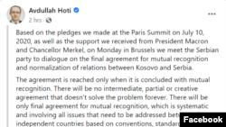 Objava kosovskog premijera Hotija na Fejsbuku