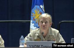 第三舰队司令泰森中将2017年2月22日在海军西部会议上发言 (美国国防部视频截图)