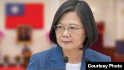 台灣總統蔡英文針對台灣與所羅門群島斷交一事發表聲明。(2019年9月16日)