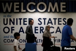 International passengers arrive at Washington Dulles International Airport in Dulles.