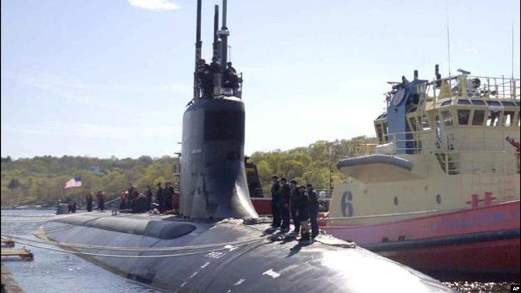 """资料照片:美国海军海狼级""""康涅狄格""""号核动力快速攻击潜艇。"""