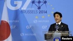 日本首相安倍晉三七國高峰會議上發表講話。