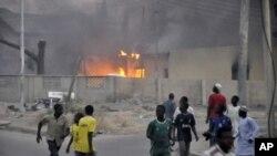 A sede da polícia em Kano, pouco depois dos atentados