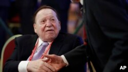 FILE - Chairman and CEO, Las Vegas Sands Corporation, Sheldon Adelson, attends the Republican Jewish Coalition annual leadership meeting, in Las Vegas, Feb. 24, 2017.