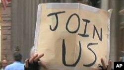 """一名抗议者举着""""占领芝加哥""""的牌子"""