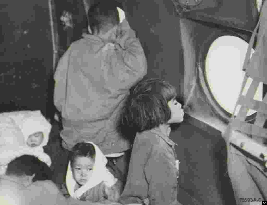 C-54 수송기 속에서 창 밖을 내다보는 고아