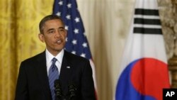바락 오바마 미국 대통령이 지난 7일 백악관에서 가진 미·한 정상회담 후 기자회견에서 발언하고 있다.