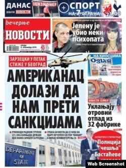 """Naslovna strana dnevnika """"Večernje novosti"""" od srede 6. novembra 2019."""
