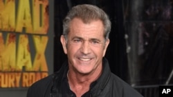 """FILE - Mel Gibson arrives at the premiere of """"Mad Max: Fury Road"""" in Los Angeles on May 7, 2015."""