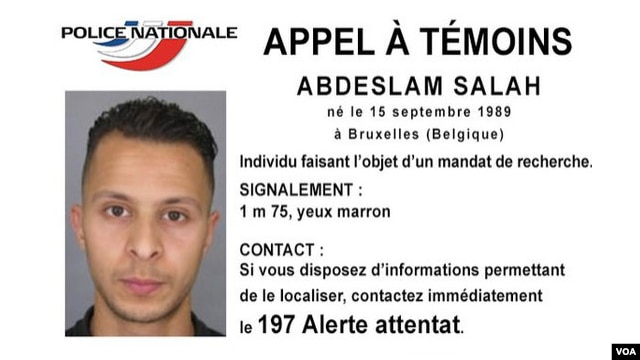 FILE - Salah Abdeslam, a Belgian national French police are searching for in connection with Paris terror attacks. (Police Nationale Handout Photo)