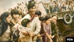 """Một bức tranh màu nước về người tị nạn chiến tranh Việt Nam tại triển lãm """"Tiffany Chung: Vietnam, Past is Prologue"""" (Quá khứ là sự khởi đầu) ở bảo tàng Nghệ thuật Mỹ Smithsonian."""